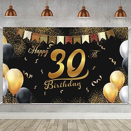 30 Anni di Buon Compleanno Decorazione di Festa per Uomo Donna 30 Anni Compleanno Festa Decorazioni Oro Nero 30 Striscione di Compleanno Poster di Tessuto Sfondo Fotografico 30 Feste di Compleanno