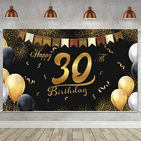 Geburtstag Deko 30 Mann 30 Geburtstag Dekoration Schwarz Gold Geburtstag Hintergrund Banner Geburtstag 30 Jahre Banner Geburtstag Party Dekorationen Küche Haushalt