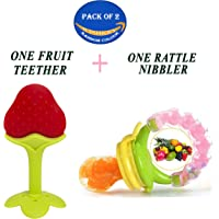 Wishkey Baby Food Nibbler or Feeder with Rattle and Fruit Teether For Kids Set Of 2|Fruit and Vegetable Food Nibbler BPA Free For 6 to 12 Months|Silicone Fruit Teether For 0-2 years Babies|Teething Toys for Baby Teeth Growth