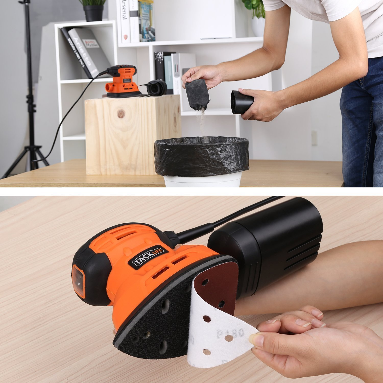 Mouse Detail Sander with 12Pcs Sanderpaper, 12000 OPM Sander with Dust Collection System For Tight Spaces Sanding in Home Decoration, DIY by TACKLIFE (Image #4)