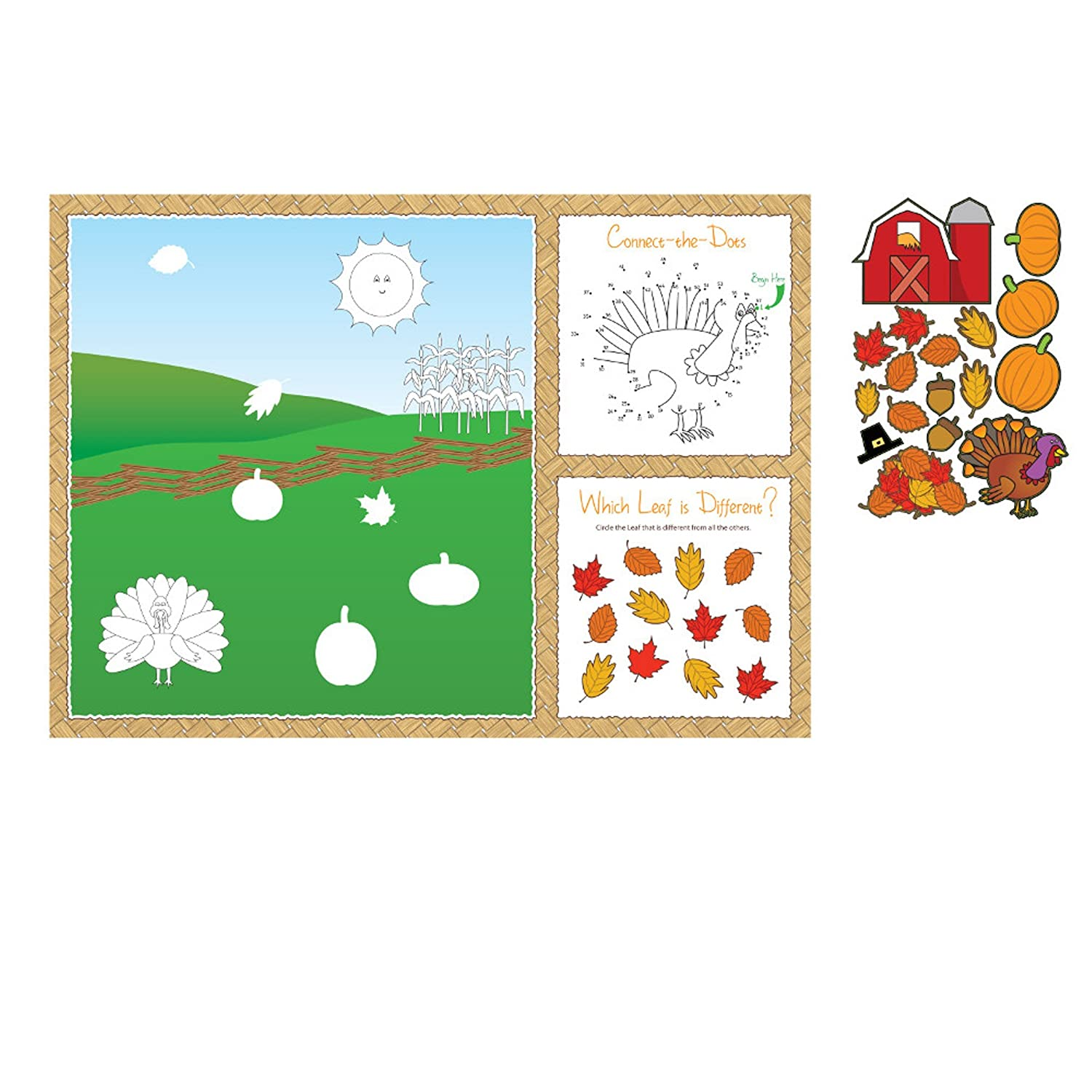 Thanksgiving craft for kids placemat with stickers