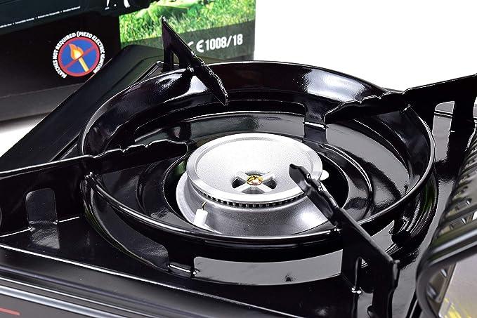 Kochmann - Cocina portátil a gas, incluye maleta y 8 cartuchos de gas