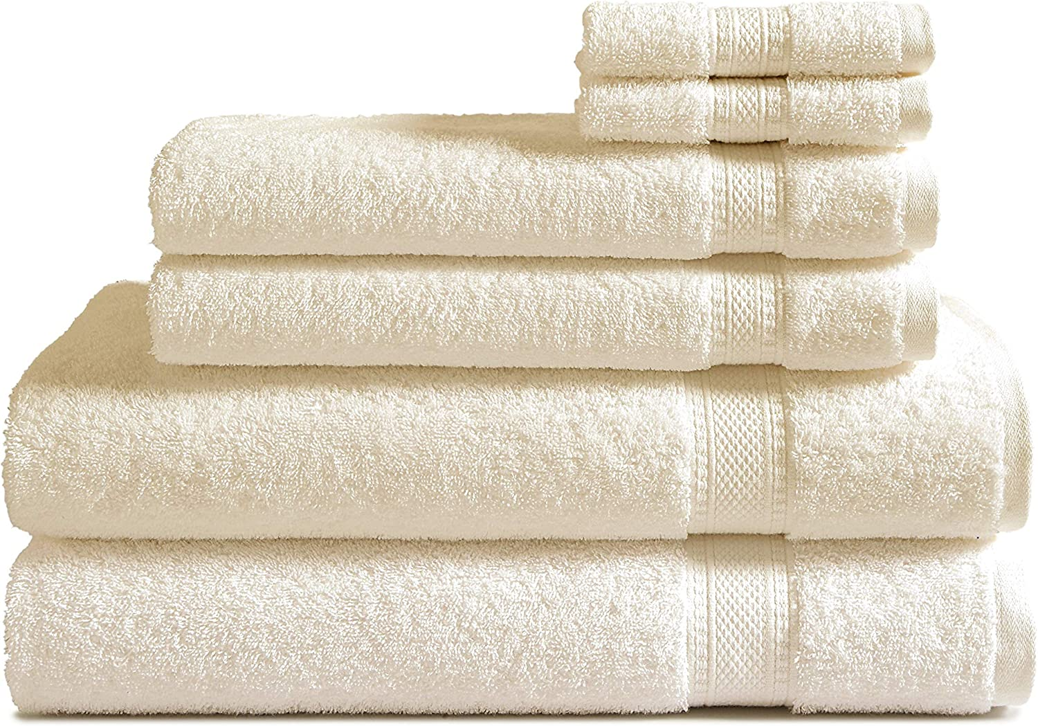 100 Cotton 6 Piece Towel Set Ivory 500 Gsm 2 Bath Towels 2 Hand Towels And 2 Washcloths Classic Amercian Construction Soft Highly Absorbent Machine Washable Kitchen Dining