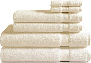 100% Cotton 6-Piece Towel Set (Ivory): 500 GSM 2 Bath Towels, 2 Hand Towels and 2 Washcloths, Classic Amercian Construction, Soft, Highly Absorbent, Machine Washable