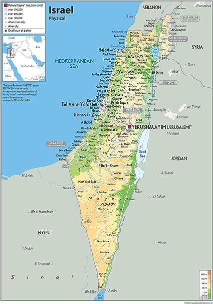 Israel Mapa mural de física – papel laminado Póster [ga], color transparente A0 Size 84.1 x 118.9 cm: Amazon.es: Oficina y papelería