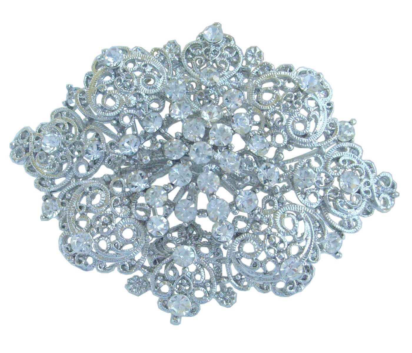 Sindary Elegant 2.75'' Wedding Bridal Flower Brooch Pin Clear Austrian Crystal BZ3768