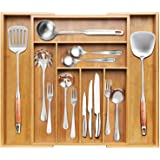 BAYKA Kitchen Drawer Organizer Bamboo Expandable Silverware Organizer, Adjustable Desk Drawer Divider, Large Utensil, Cutlery, Tools, Stationary & Silverware Tray - 8 Compartments