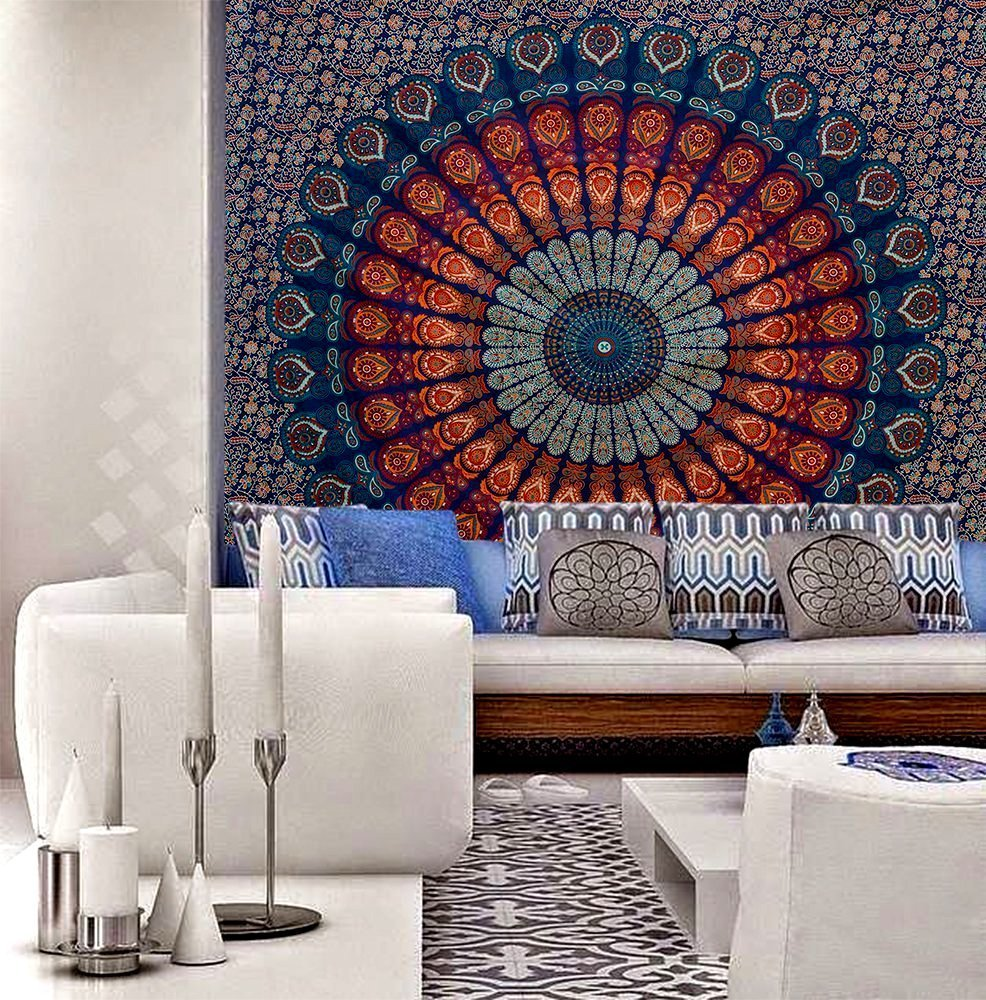 GLOBUS CHOICE INC. Blue Round Small Tassel Tapestry Wall Hanging Mandala Tapestries Indian Cotton Hippie Round Tapestry (48 Inches) GCIT0241