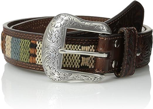 Nocona Mens 2-Tone Bar Concho Hide Belt