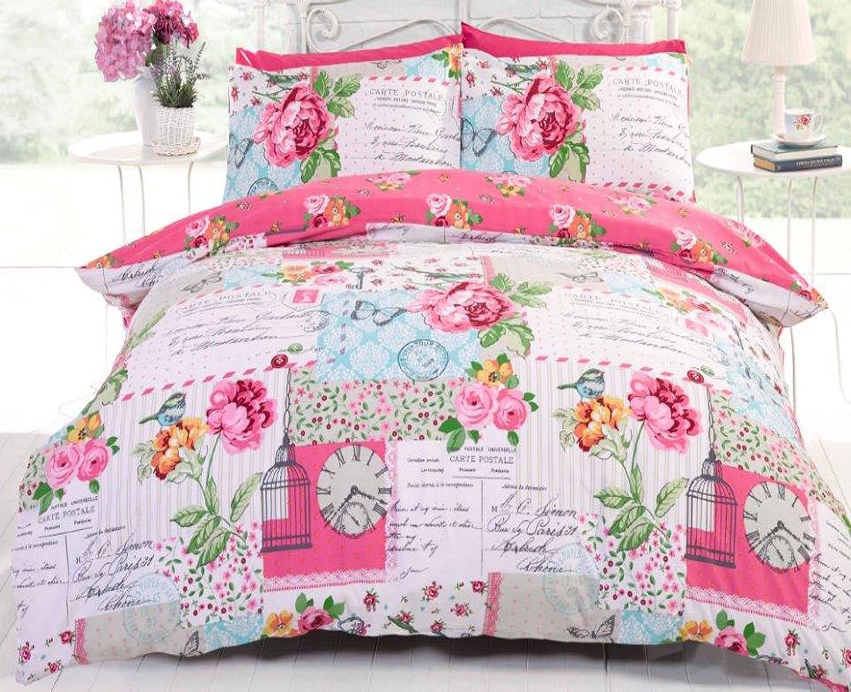 P Vintage Oiseaux Rose Housse De Couette Double Lot PAPILLONS LIBELLULES Gratuit P