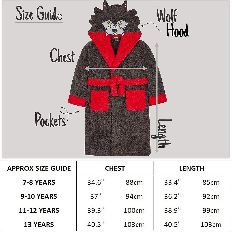 Metzuyan Boys Wolf Snuggle Hooded Fleece Robe /& All in One