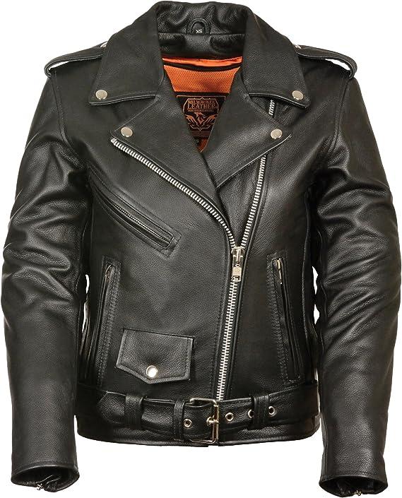 Chaqueta de cuero para motocicleta para mujer, laterales lisos
