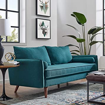 Miraculous Modway Revive Contemporary Modern Fabric Upholstered Sofa In Teal Machost Co Dining Chair Design Ideas Machostcouk