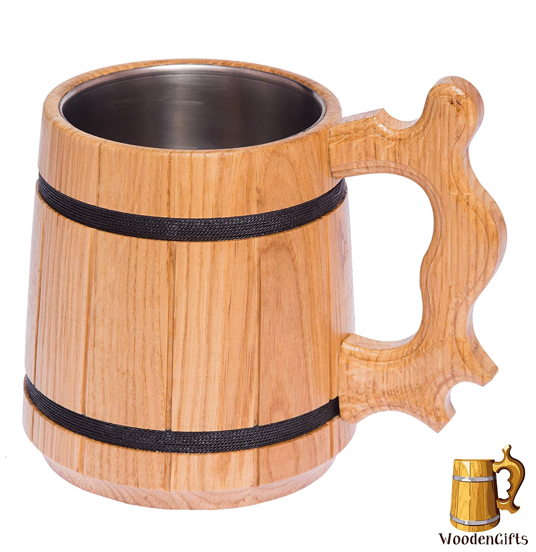 Beer Stein/Beer Mug/Tankard / Wooden Beer Mug By WoodenGifts - 0.6 Litres Or 20oz Wooden Mug - Rustic Barrel Design - Stainless Steel Cup (Beige)
