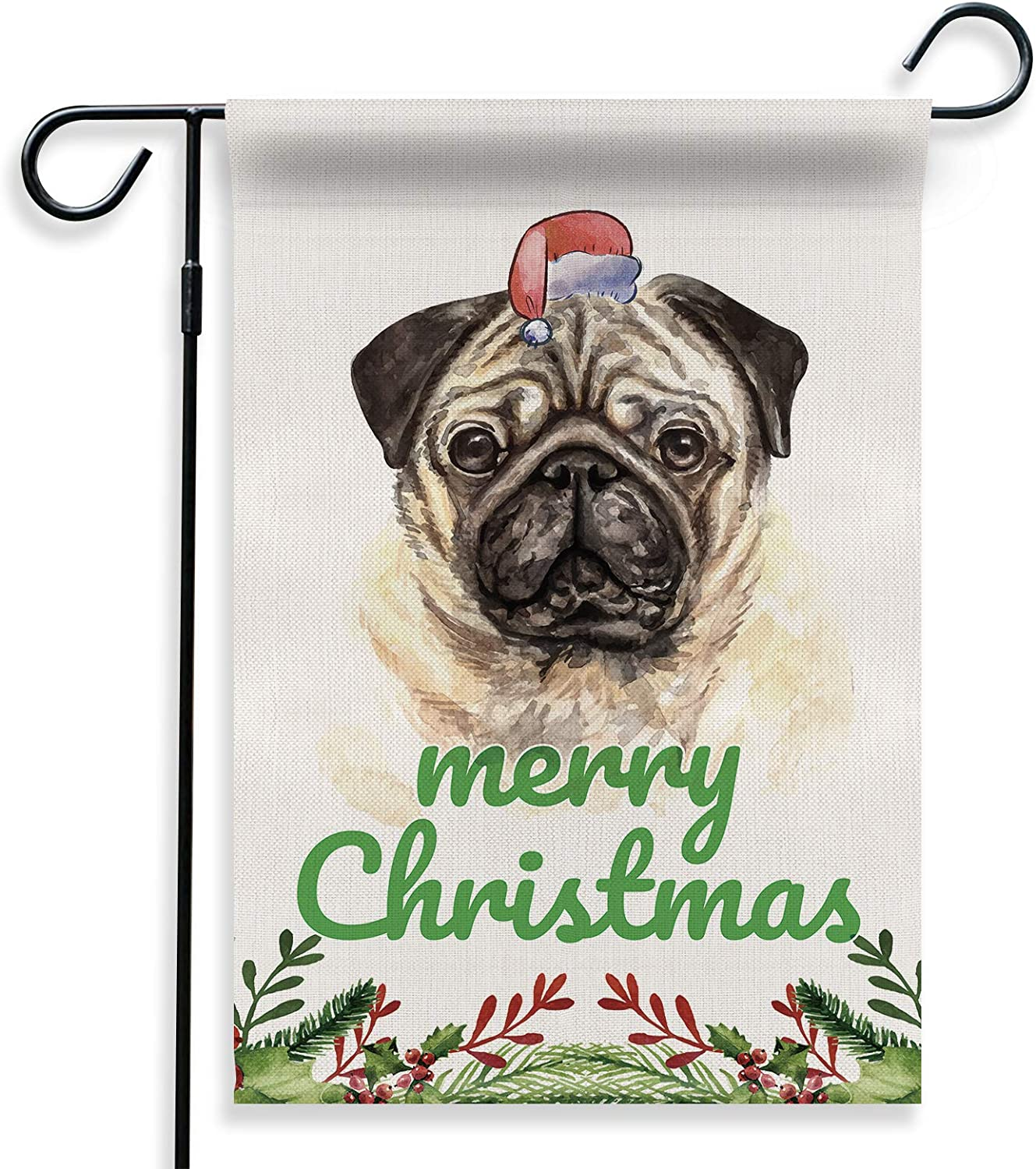 BellowDeer Pug Dog Merry Christmas Xmas Double-Sided Yard Garden Flag Decor for Dog Lover, Dog Owner, Friend, House Yard Garden Indoor Outdoor Decoration