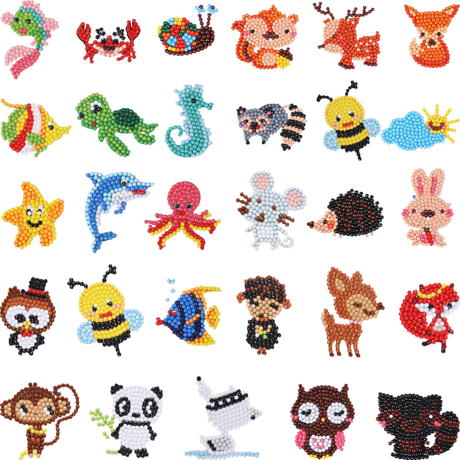29 Pieces Diamond Painting Kids 5D Diamond Stickers DIY Diamond Painting Kits Animal Painting with Diamonds for Adult Beginners by Chinco