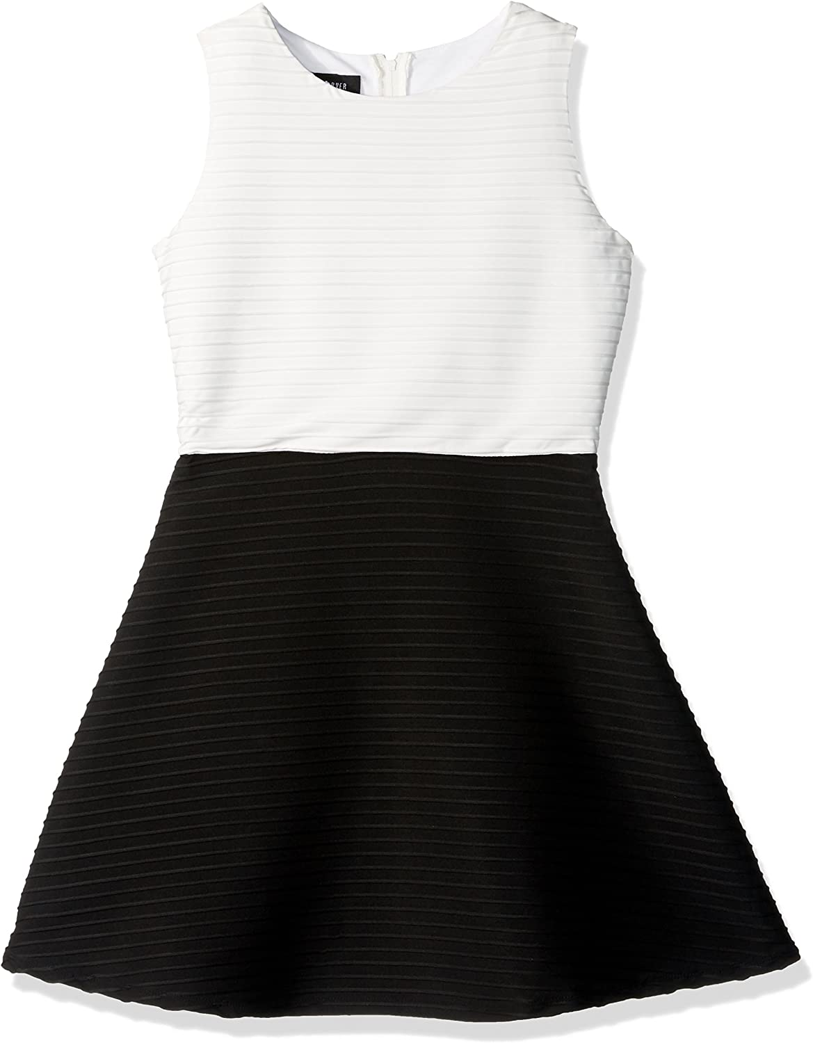 Amy Byer Girls' Big Picture and Flare Textured Knit Dress