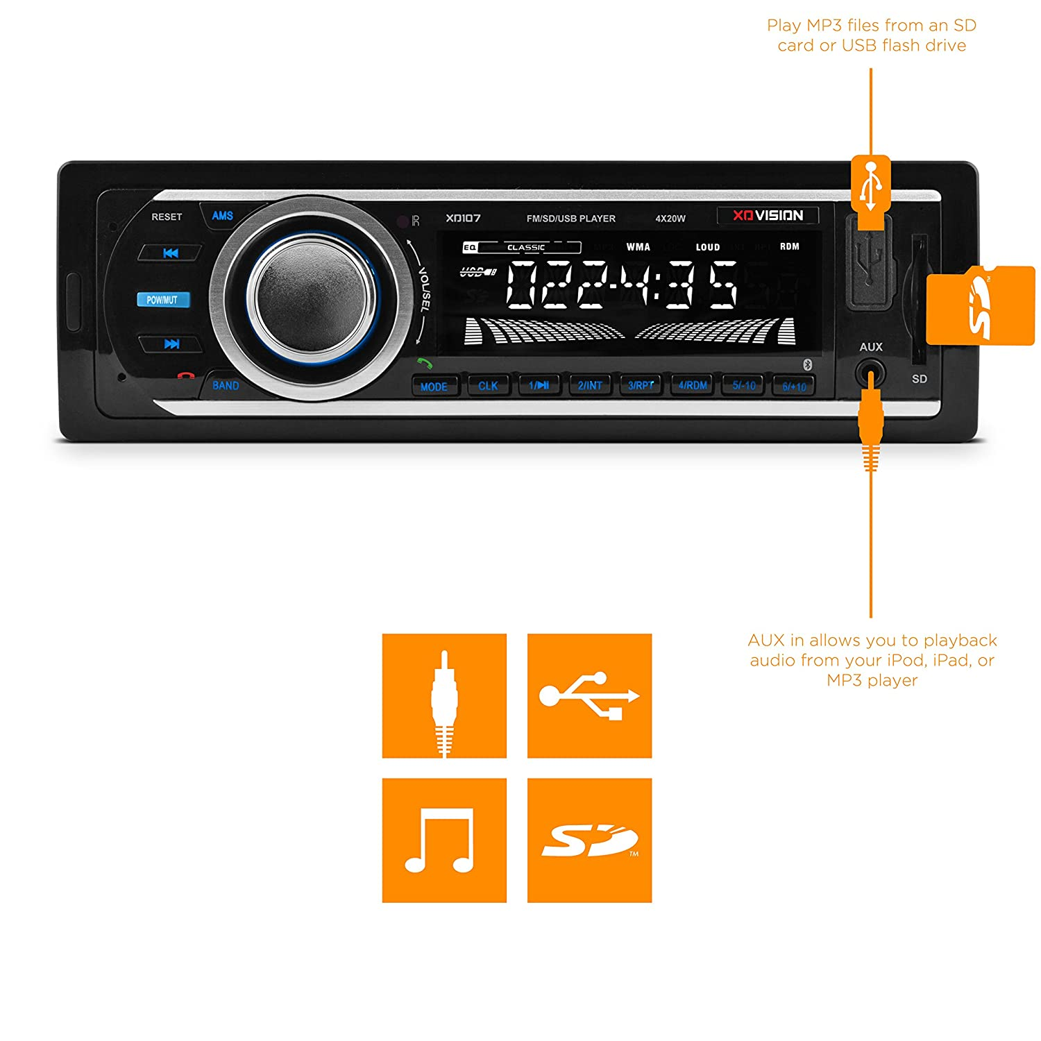 Amazon.com: Car Stereo, XO Vision Wireless Bluetooth Car Stereo Receiver  with 20 watts x 4, USB Port , SD Card Slot, and MP3 and FM [ XD107 ]: Car  ...