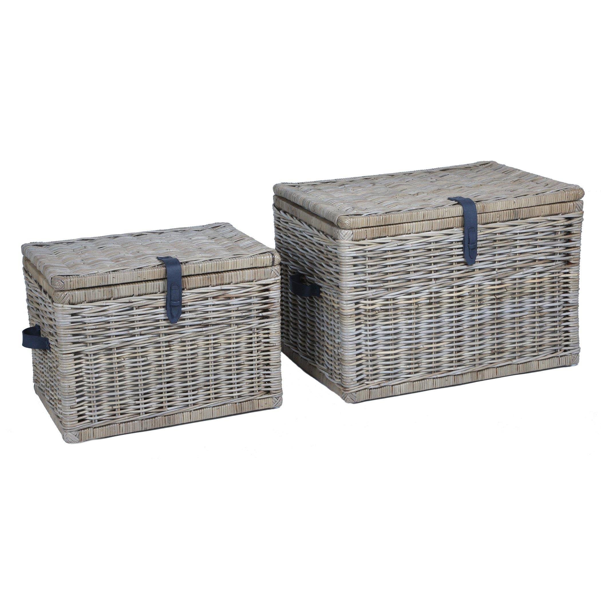 The Basket Lady Deep Wicker Storage Trunk   Wicker Storage Chest, Nested set of 2, Serene Grey