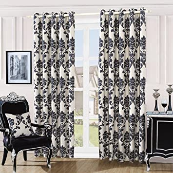 DAMASK EMBROIDERY LUXURY FULLY LINED EYELET CURTAINS + TIE BACKS ...