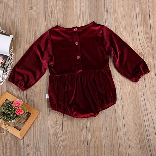 dc978fa08 Imcute Baby Girls Outfit Casual Wine Velvet Long Sleeve Romper Playsuit  Sunsuit