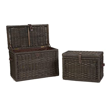 The Basket Lady Wicker Storage Trunk | Wicker Storage Chest Nested set of 2 Antique Walnut  sc 1 st  Amazon.com & Amazon.com: The Basket Lady Wicker Storage Trunk | Wicker Storage ...
