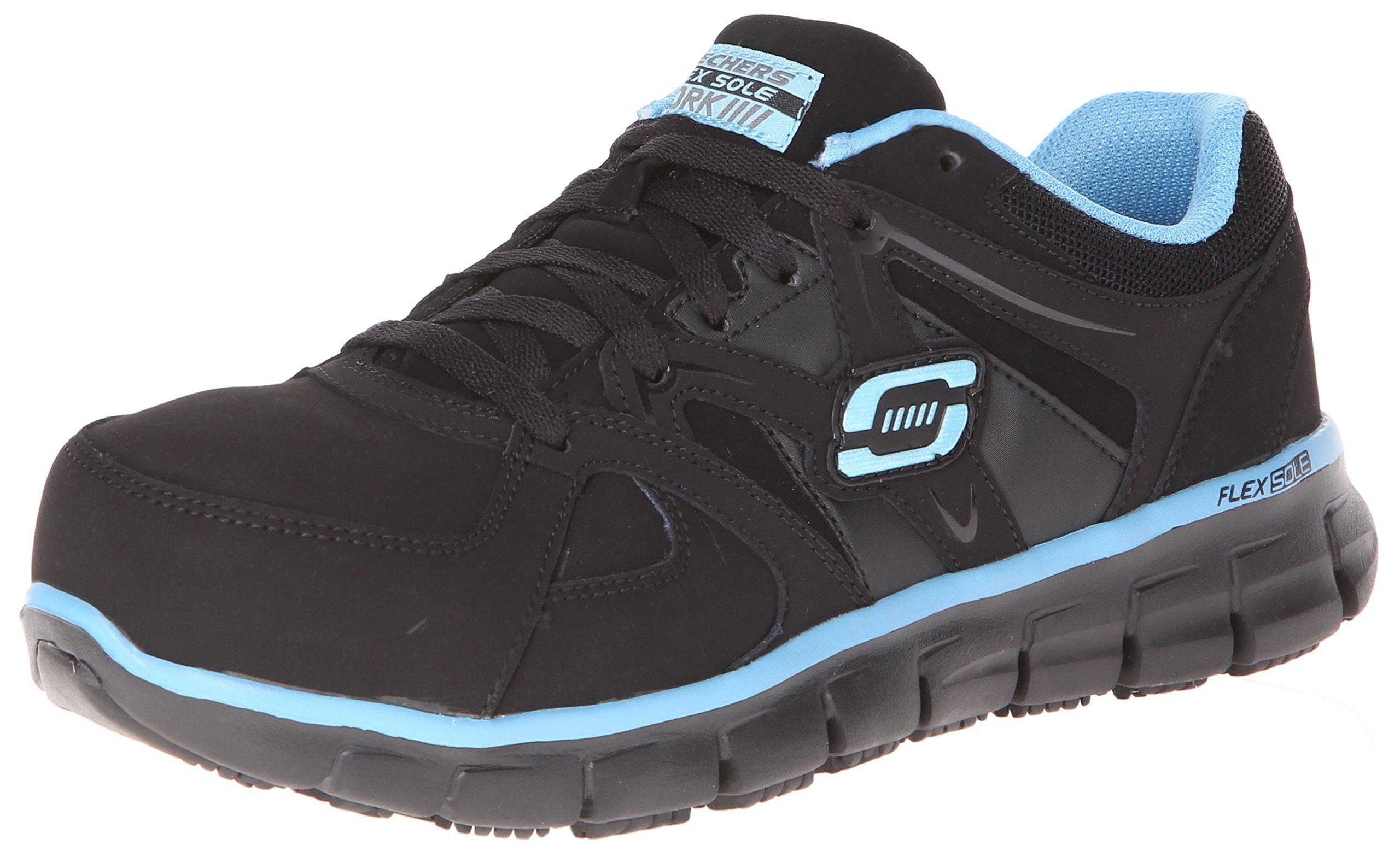 Skechers for Work Women's Synergy-sandlot Work Boot, Black/Blue, 9 M US by Skechers