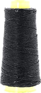Mandala Crafts Whipping Twine, Lacing Cord String from Wax Polyester for Cable Tie, Sail Repair, Gardening, Crafting (Black)