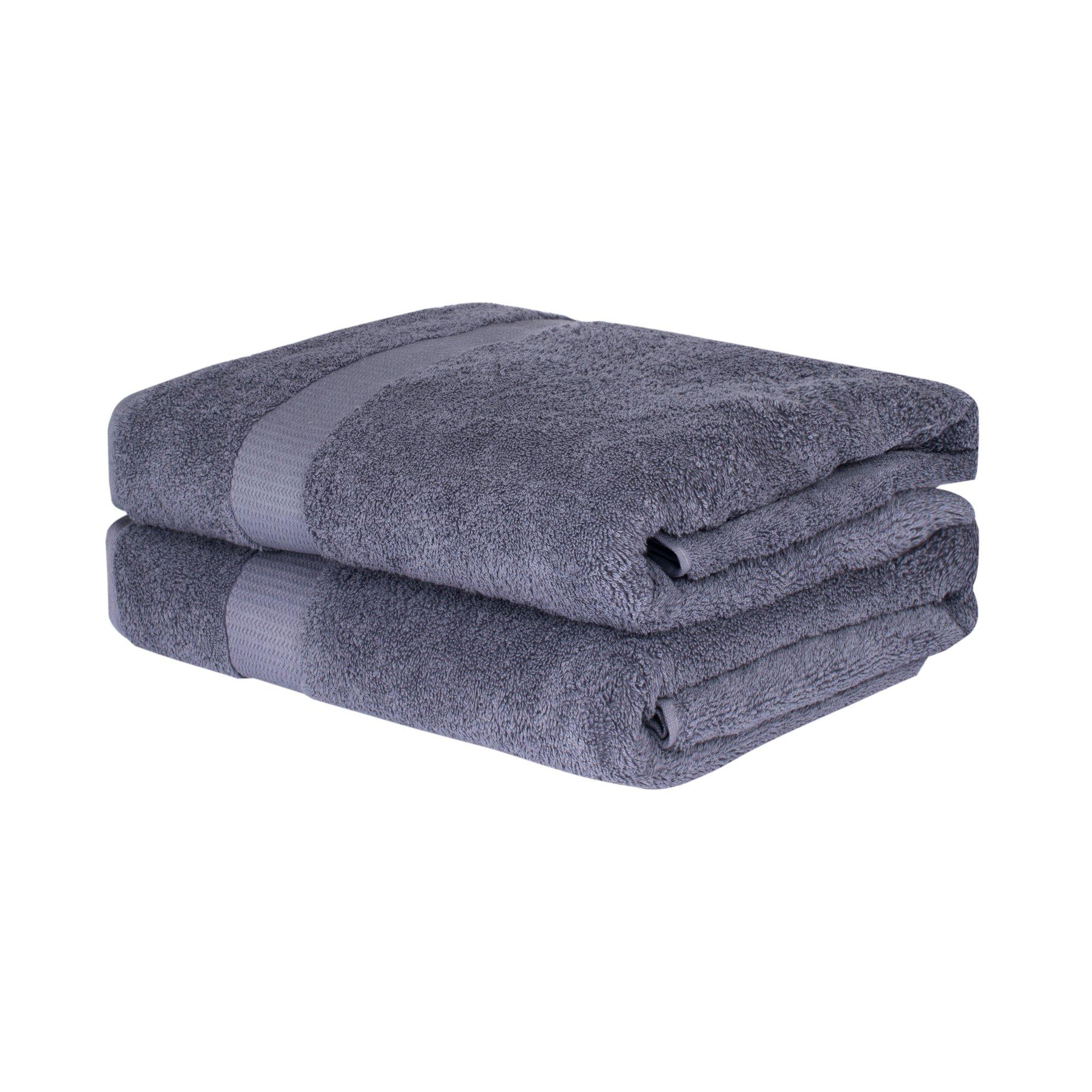 EGETOLIA Premium Oversized Bath Towel 35x70 inch Turkish Cotton Towel for Beach Hotel Spa Bathroom Maximum Softness and Highly Absorbent 2 Bulk Pack, GREY