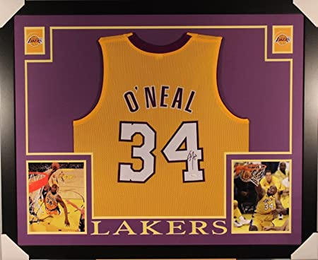8879c3640 Amazon.com  SHAQUILLE O NEAL SHAQ AUTOGRAPHED FRAMED LAKERS JERSEY w  COA -  JSA Certified - Autographed NBA Jerseys  Sports Collectibles