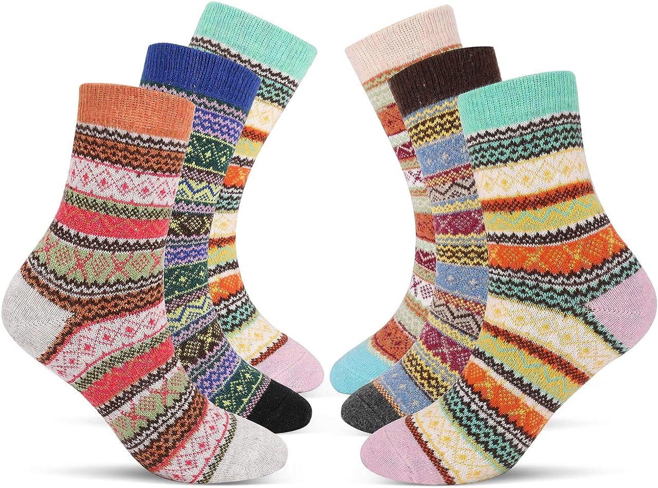 Emooqi Mujer Calcetines, 6 Pares Calcetines De Algodón Niña Calcetines Divertidos|Acogedor Transpirable|EU Tamaño 35~42|Para Mujeres y Niñas Regalos De San Valentín De Uso Diario