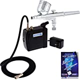 Master Airbrush Multi-Purpose Airbrushing System Kit with Portable Mini Air Compressor - Gravity Feed Dual-Action Airbrush, H