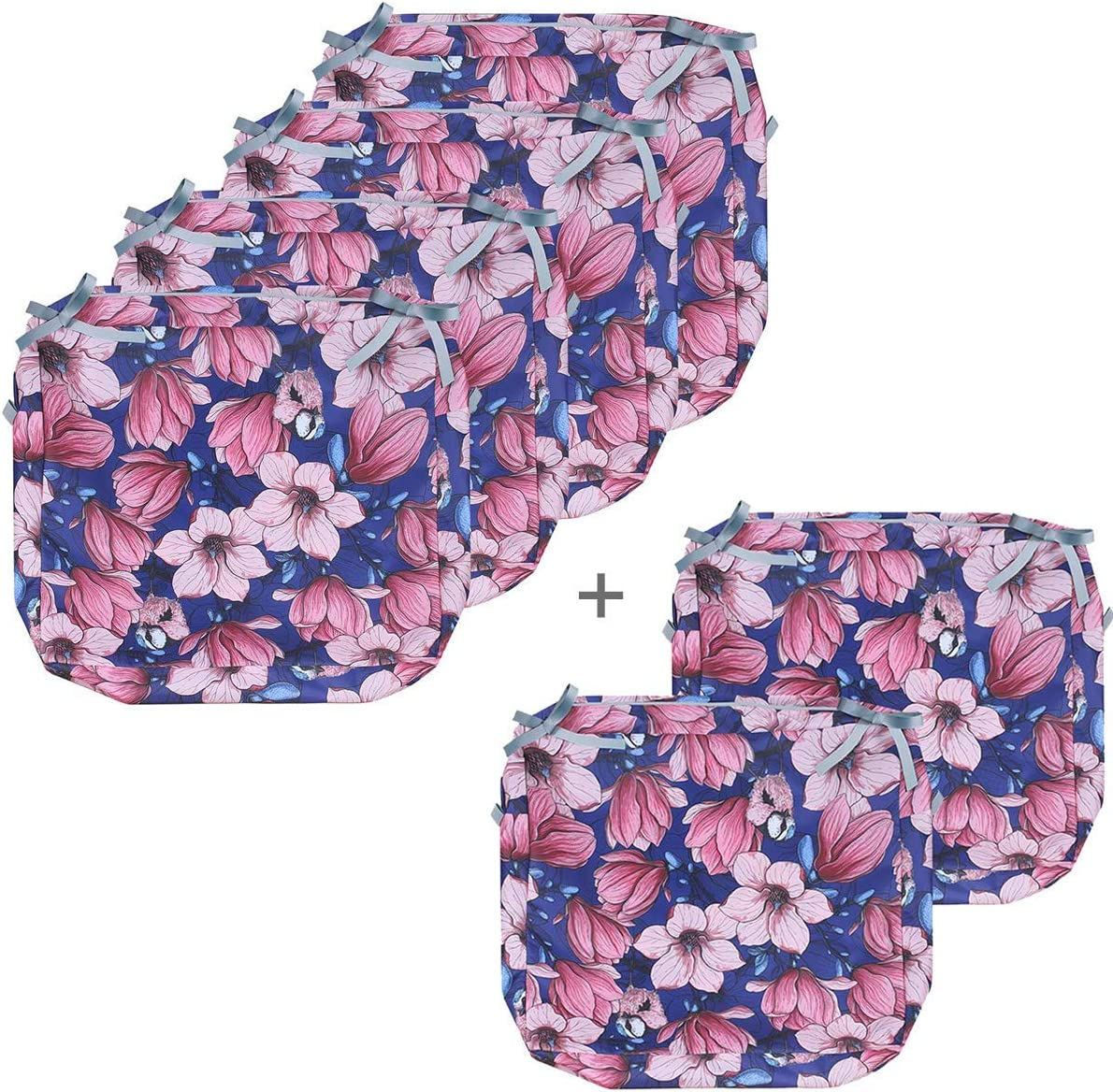 Porch Shield Outdoor Cushion Cover Water Repellent 6 Pack (24W x 24D x 4H inch, Magnolia and Tit Bird)