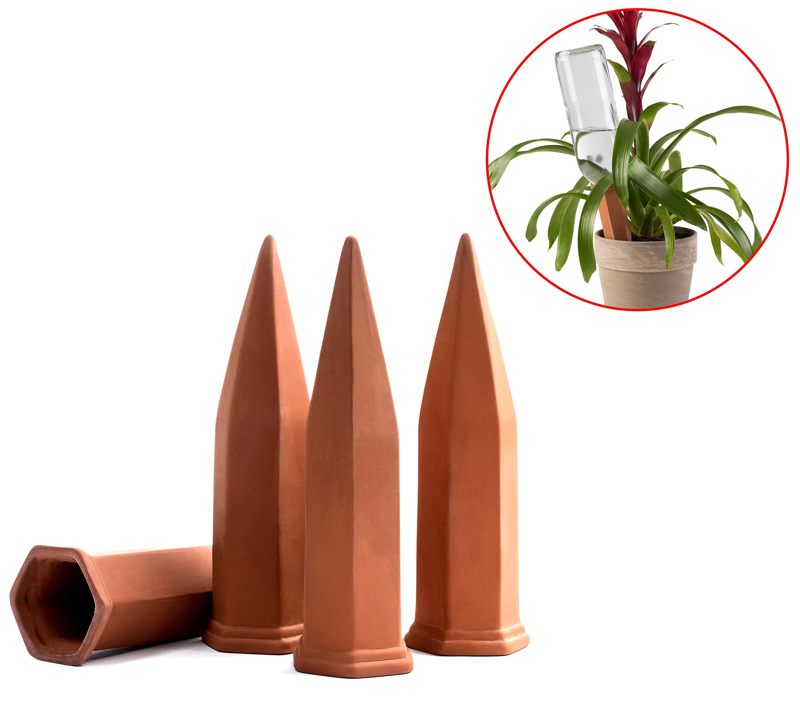 Modern Innovations Terracotta Plant Watering Stakes for Home and Vacation Plant Watering, Set of 4 by Modern Innovations