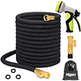 """Higen 100ft Upgraded Expandable Garden Hose Set, Extra Strength Fabric Triple Layer Latex Core, 3/4"""" Solid Brass…"""