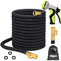 Higen 100ft Upgraded Expandable Garden Hose Set, Extra Strength Fabric Triple Layer Latex Core, 3/4″ Solid Brass Fittings, 9 Function Spray Nozzle with Storage Bag, Premium No-Kink Flexible Water Hose