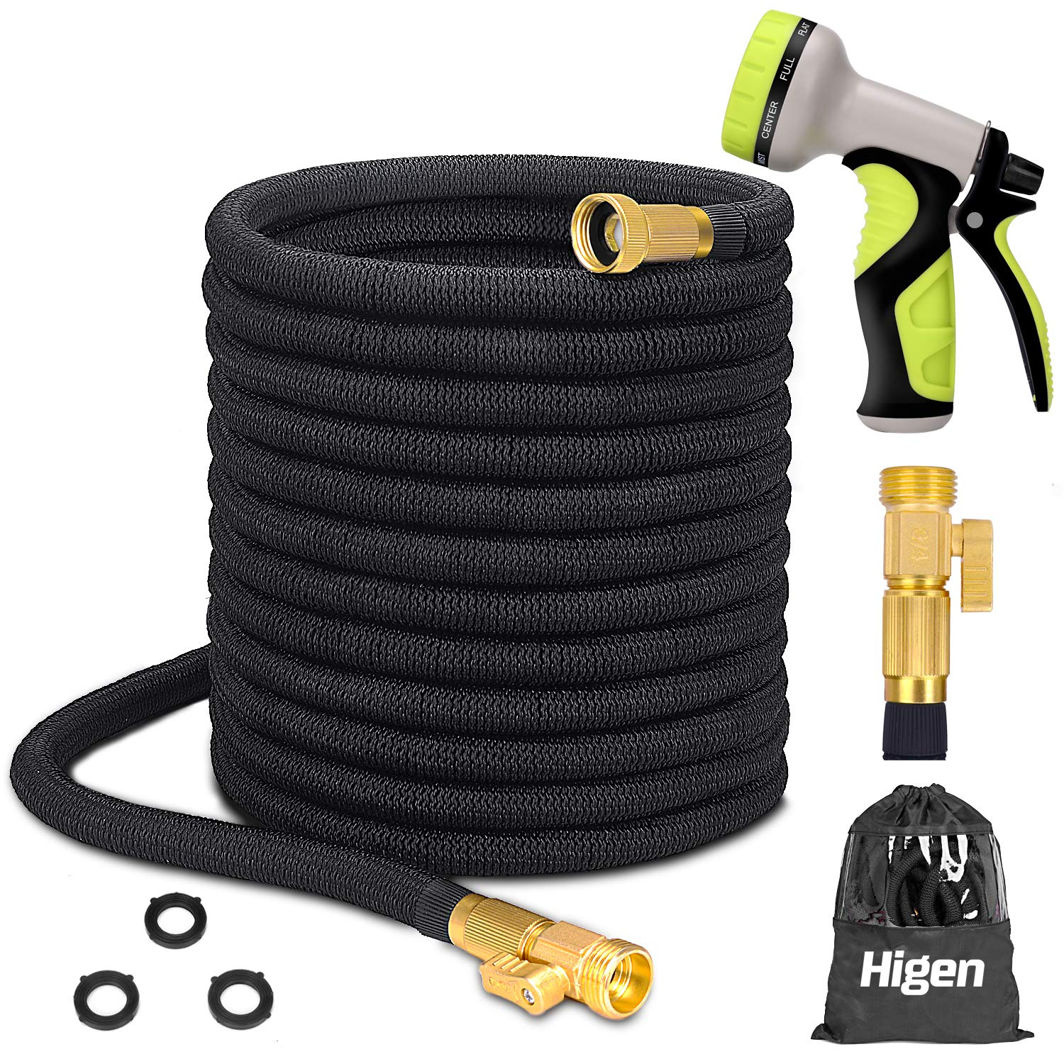 Higen 100ft Upgraded Expandable Garden Hose Set, Extra Strength Fabric Triple Layer Latex Core, 3/4'' Solid Brass Fittings, 9 Function Spray Nozzle with Storage Bag, Premium No-Kink Flexible Water Hose
