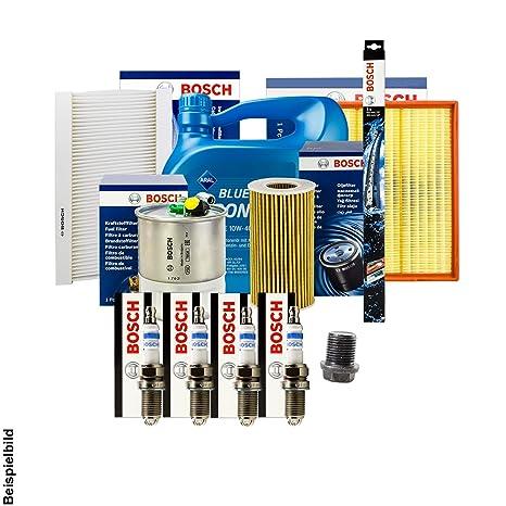 Bosch filtro + Velas + Junta + 4 L Aral 10 W-40 Aceite +