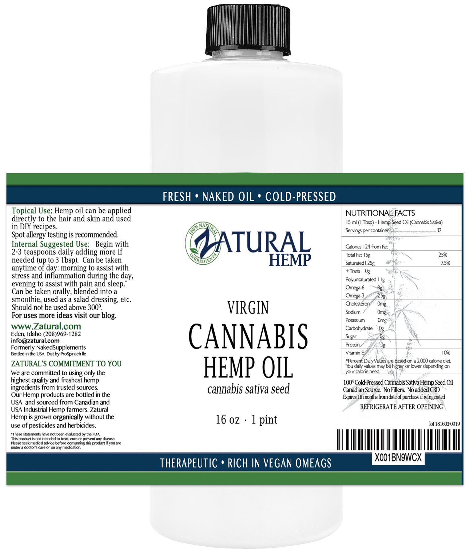Hemp Oil-Cannabis Sativa Oil, 100% Pure_No Fillers or Additives, Therapeutic Grade (16 Ounce)