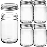 Glass Regular Mouth Mason Jars, 12 Ounce Glass Jars with Silver Metal Airtight Lids for Meal Prep, Food Storage, Canning…