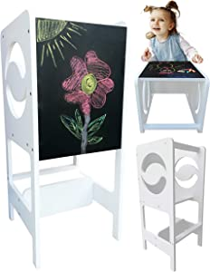 ARTINNOS 3 in 1 Kids Kitchen Step Stool w/Chalkboard, Learning Toddler Tower, Adjustable Height, Kitchen Helper Stool for Toddlers, Learning Toddler Stool for Kitchen Counter Transformable into Desk