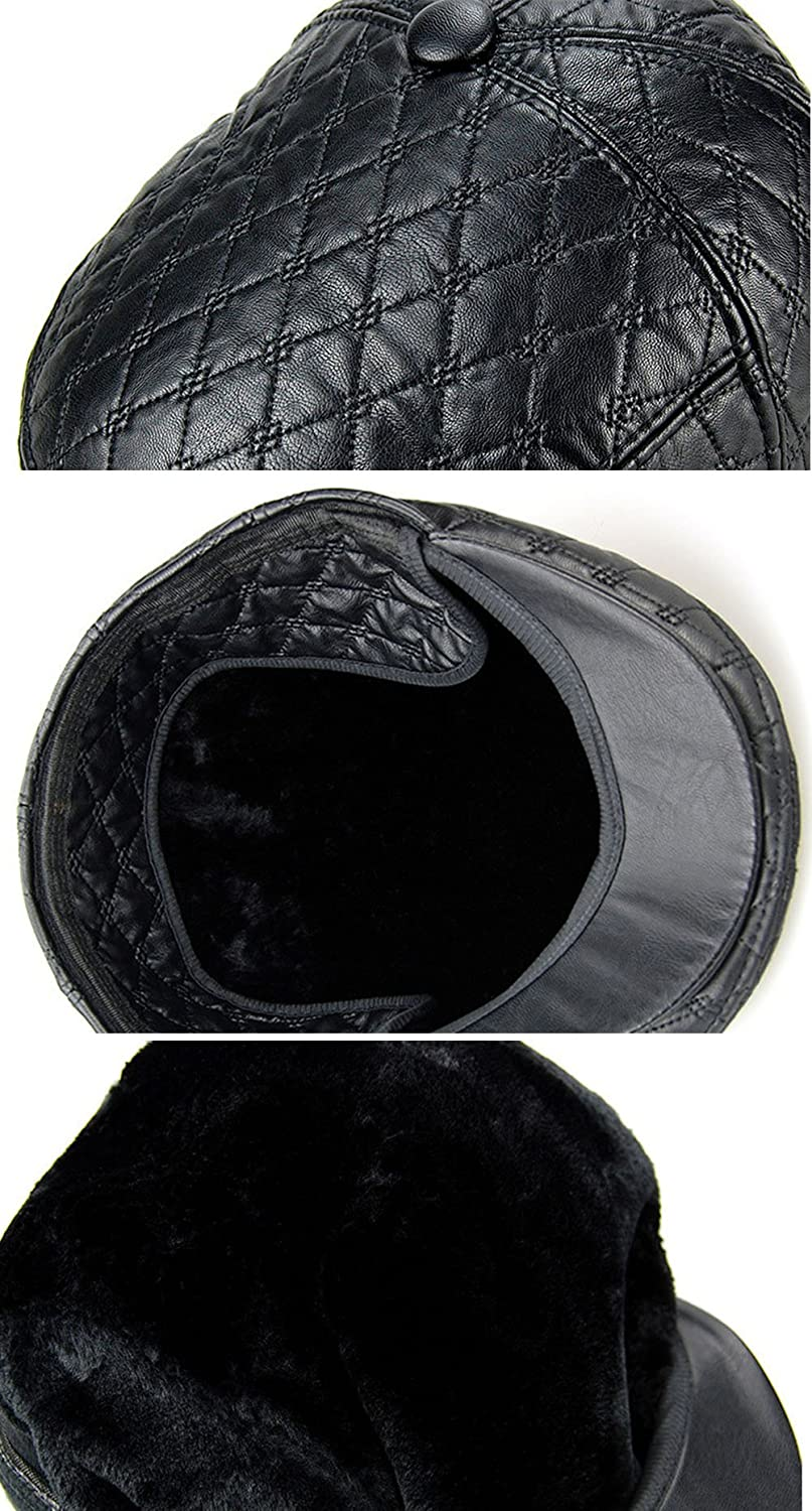 Roffatide Mens Faux Sheepskin Quilted Thick Newsboy Cap Driving Flat Beret Cabbie Ivy Hat with Earflaps
