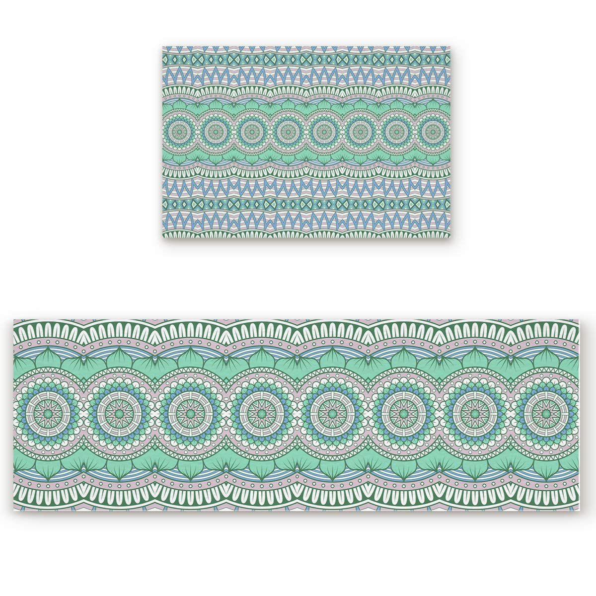 23.6\ SODIKA 2 Pieces Kitchen Rug Set,Non-Skid Slip Washable Doormat Floor Runner Bathroom Area Rug Carpet,Mandala Boho Style (23.6x35.4in+23.6x70.9 inches)