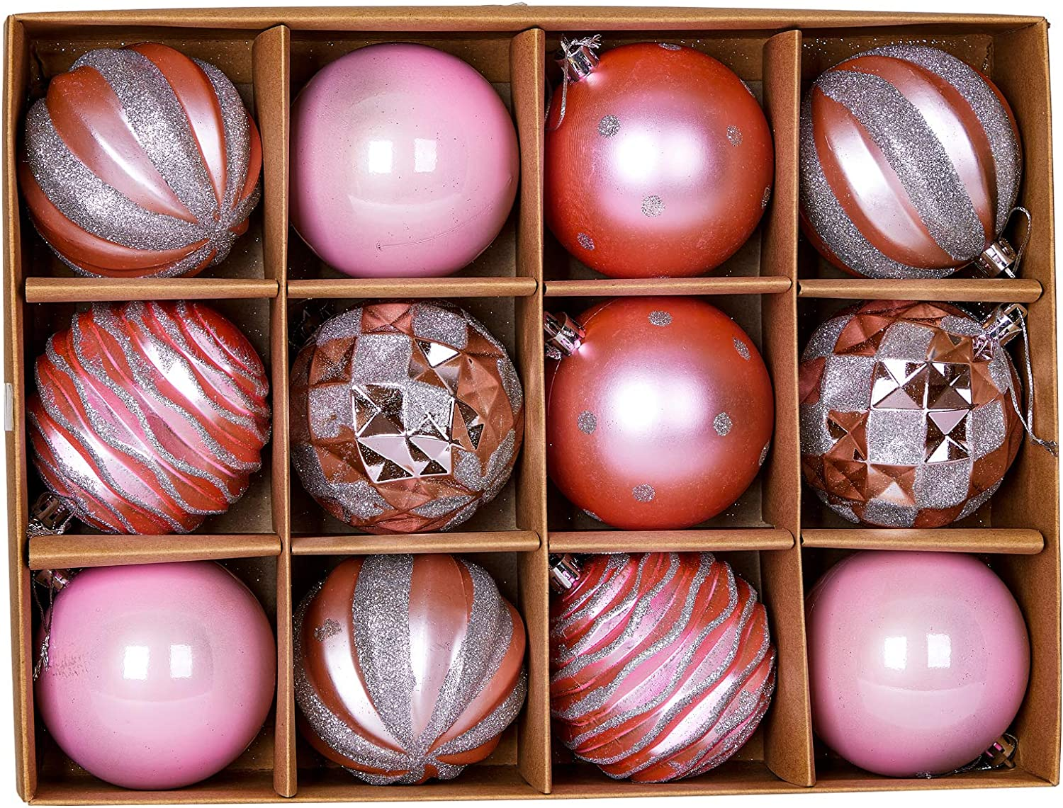 """Jilimeli 12ct 80mm/3.15"""" Christmas Ball Ornaments, Decorative Hanging Baubles, Christmas Tree Decoration, Plastic and Shatterproof, Ideal for Xmas, Holiday, Home and Party Decor, Pink"""