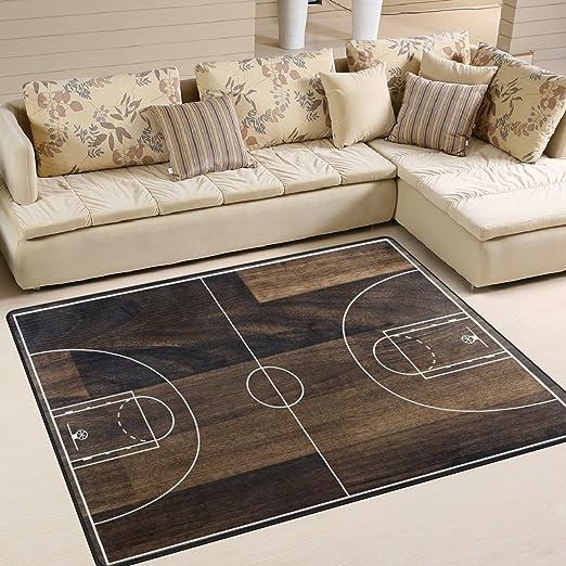 Use7 Alfombra de Baloncesto con diseño Vintage de Zona de Madera ...