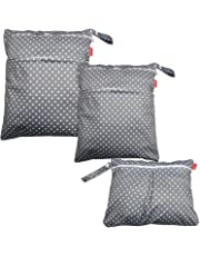 Damero 3pcs Wet and Dry Cloth Diaper Bag, Travel Packing Organizer with Handle for Cloth Diaper, Pumping Parts, Clothes and More, Easy to Grab and Go, Gray Dots