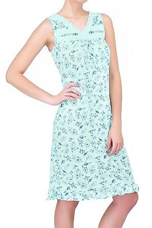 d4ba9f763b Ezi Women s Lace Trim Sleeveless Cotton Nightgown at Amazon Women s  Clothing store