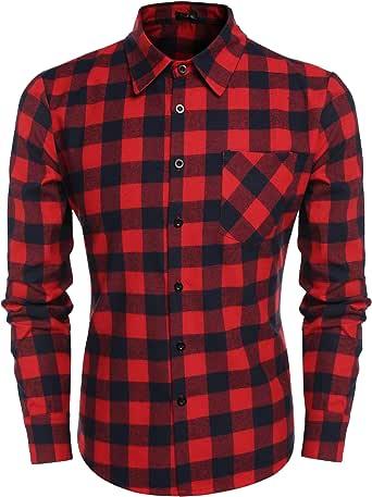 COOFANDY Camisa Hombre Invierno Cuadros de Traje Fashion