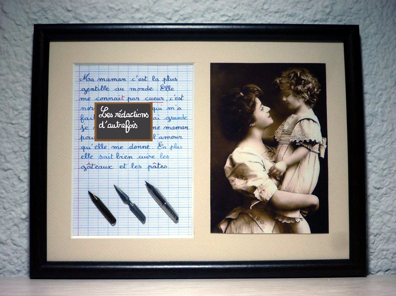 Tableau avec photo ancienne et texte sur la maman