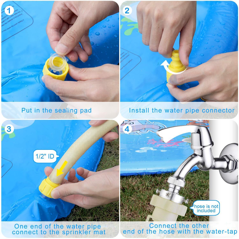 68 Inflatable Water Sprinkler Pad /& Sprinkle Play Mat Spray Wading Toys BOLMAZ Splash Pad Outdoor Summer Backyard Water Sprinkler Spray Mat for Kids Toddlers Boys Girls